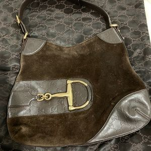Gucci Vintage Horsebit brown suede purse
